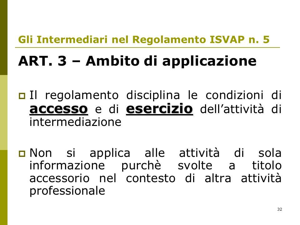 32 Gli Intermediari nel Regolamento ISVAP n. 5 ART. 3 – Ambito di applicazione accessoesercizio Il regolamento disciplina le condizioni di accesso e d