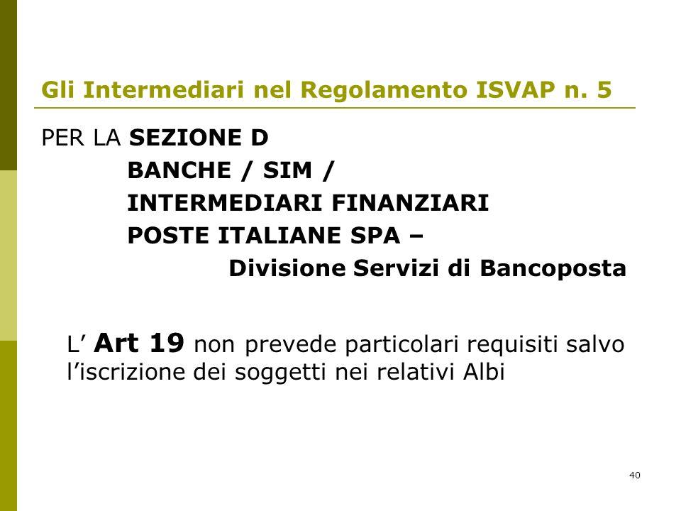 40 Gli Intermediari nel Regolamento ISVAP n. 5 PER LA SEZIONE D BANCHE / SIM / INTERMEDIARI FINANZIARI POSTE ITALIANE SPA – Divisione Servizi di Banco
