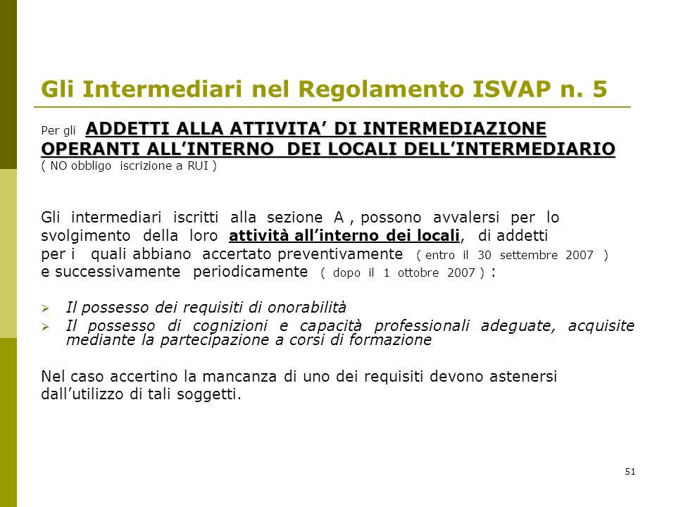 51 Gli Intermediari nel Regolamento ISVAP n. 5 ADDETTI ALLA ATTIVITA DI INTERMEDIAZIONE Per gli ADDETTI ALLA ATTIVITA DI INTERMEDIAZIONE OPERANTI ALLI