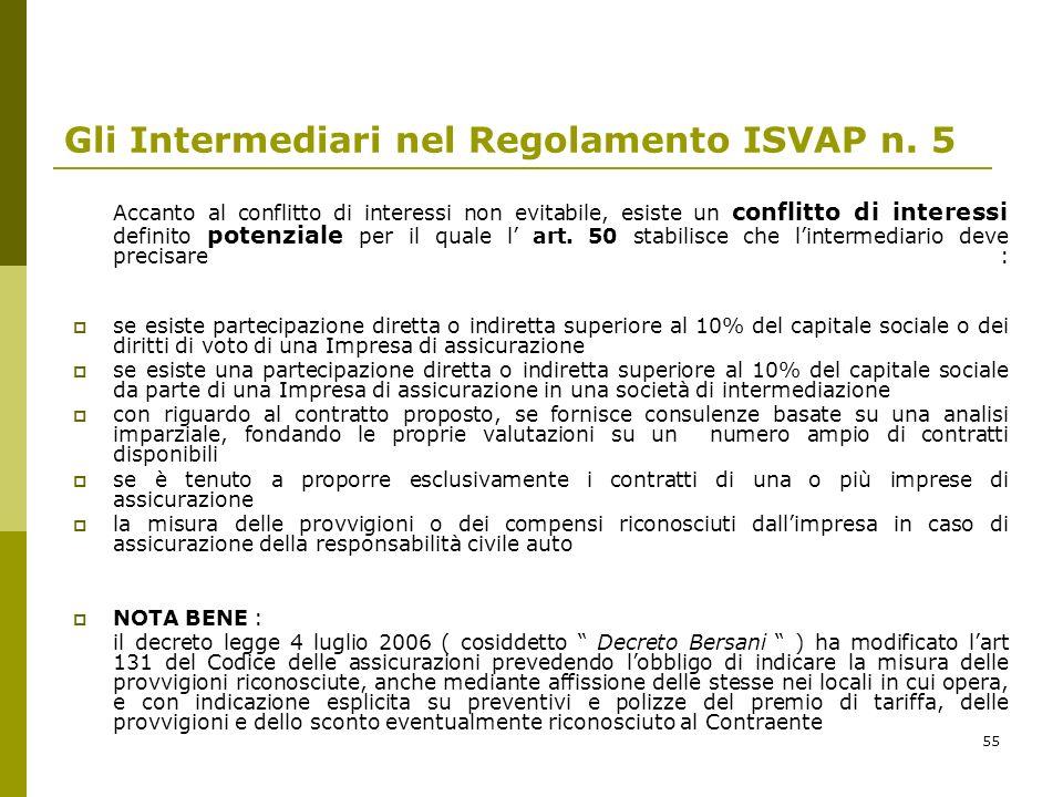 55 Gli Intermediari nel Regolamento ISVAP n. 5 Accanto al conflitto di interessi non evitabile, esiste un conflitto di interessi definito potenziale p
