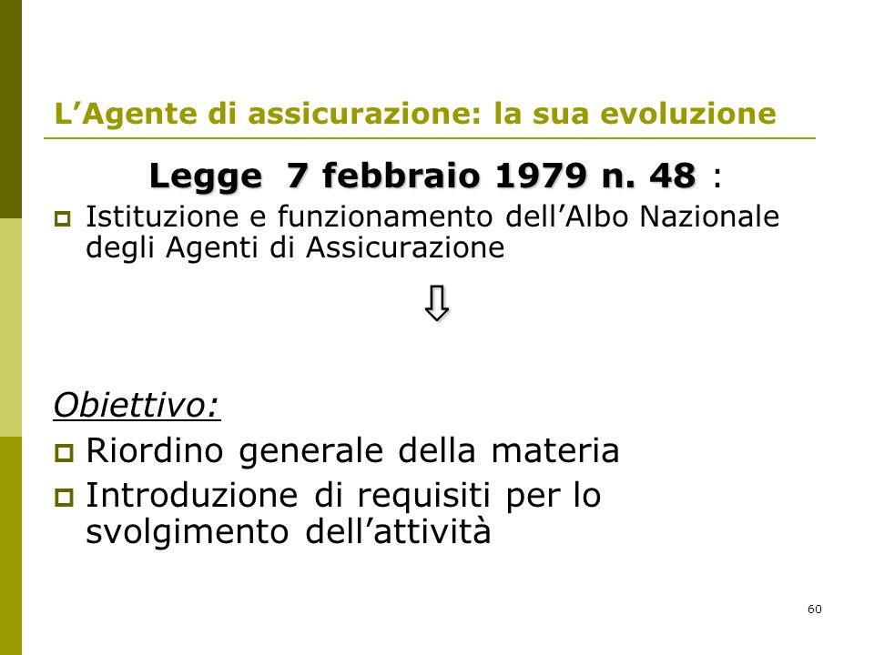 60 LAgente di assicurazione: la sua evoluzione Legge 7 febbraio 1979 n. 48 Legge 7 febbraio 1979 n. 48 : Istituzione e funzionamento dellAlbo Nazional