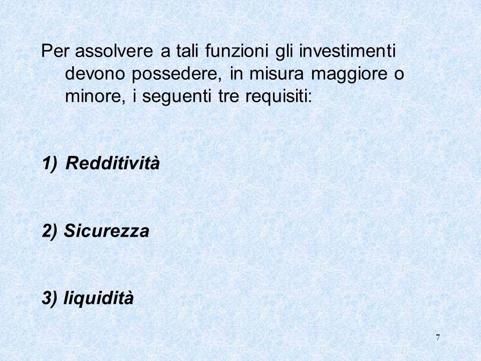 7 Per assolvere a tali funzioni gli investimenti devono possedere, in misura maggiore o minore, i seguenti tre requisiti: 1)Redditività 2) Sicurezza 3