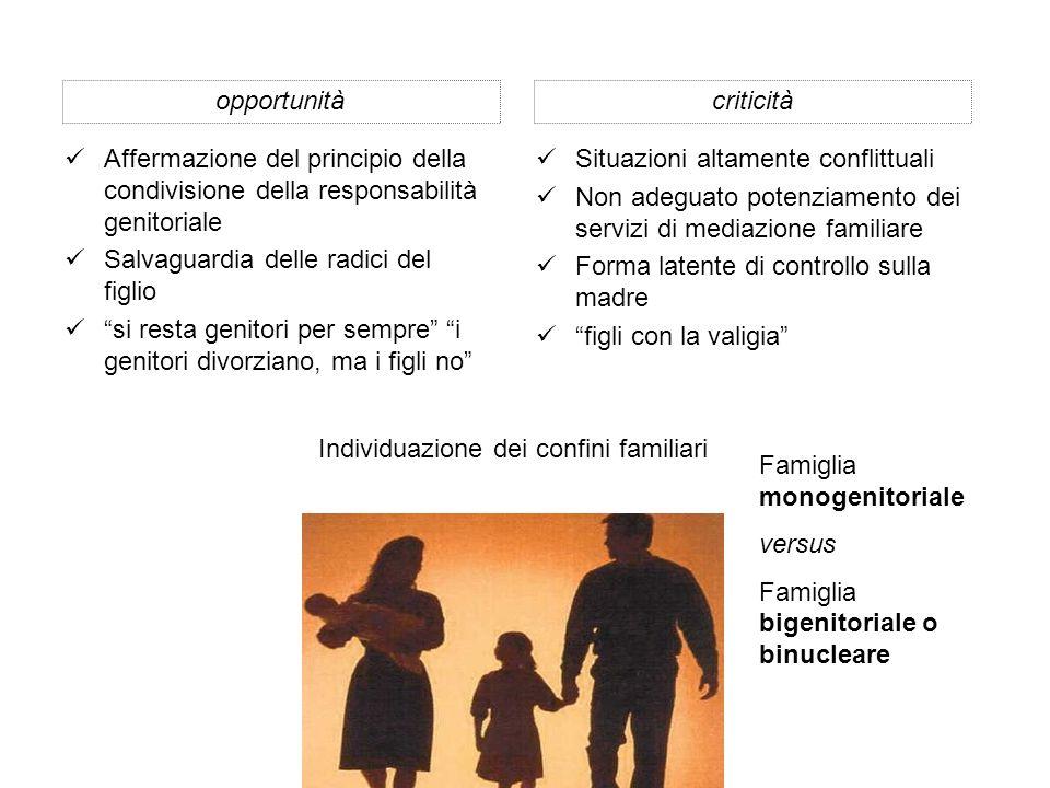 Situazioni altamente conflittuali Non adeguato potenziamento dei servizi di mediazione familiare Forma latente di controllo sulla madre figli con la valigia criticitàopportunità Affermazione del principio della condivisione della responsabilità genitoriale Salvaguardia delle radici del figlio si resta genitori per sempre i genitori divorziano, ma i figli no Individuazione dei confini familiari Famiglia monogenitoriale versus Famiglia bigenitoriale o binucleare