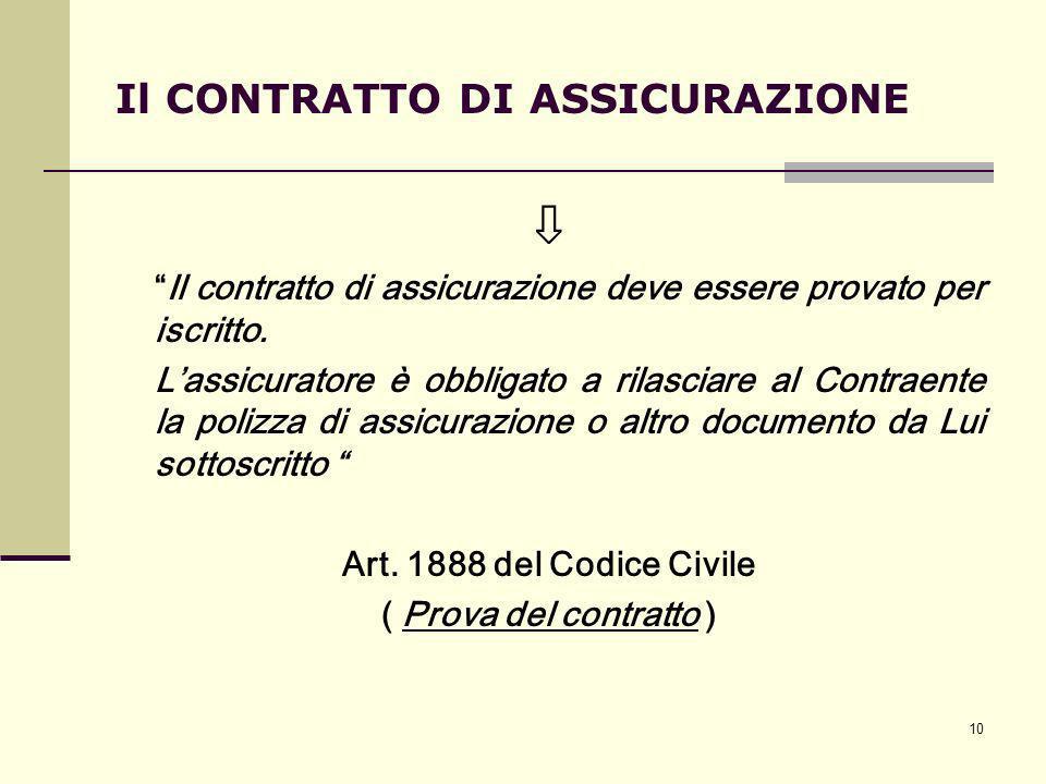10 Il CONTRATTO DI ASSICURAZIONE Il contratto di assicurazione deve essere provato per iscritto. Lassicuratore è obbligato a rilasciare al Contraente