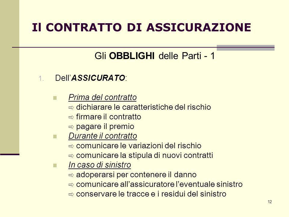 12 Il CONTRATTO DI ASSICURAZIONE Gli OBBLIGHI delle Parti - 1 1. DellASSICURATO: Prima del contratto dichiarare le caratteristiche del rischio firmare