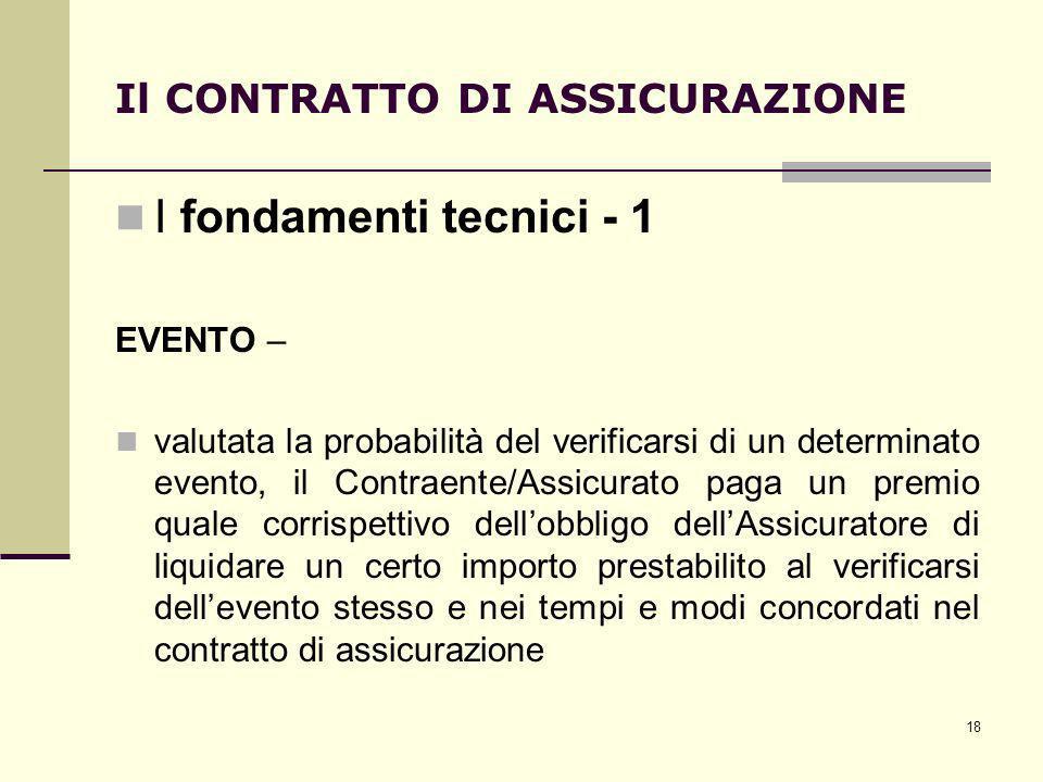 18 Il CONTRATTO DI ASSICURAZIONE I fondamenti tecnici - 1 EVENTO – valutata la probabilità del verificarsi di un determinato evento, il Contraente/Ass