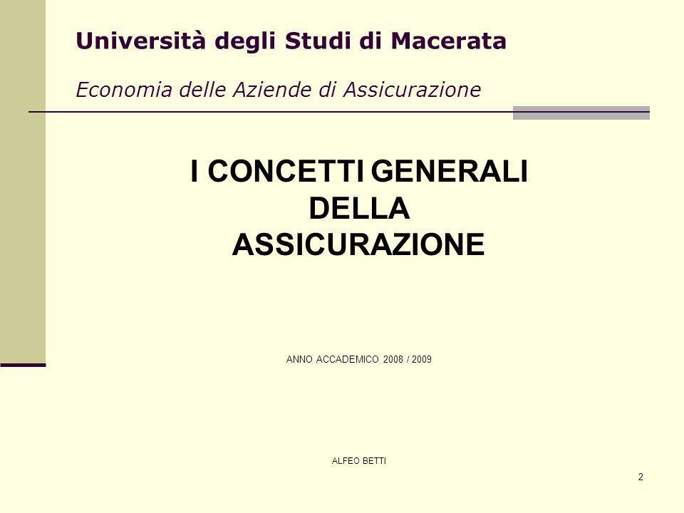 2 Università degli Studi di Macerata Economia delle Aziende di Assicurazione I CONCETTI GENERALI DELLA ASSICURAZIONE ANNO ACCADEMICO 2008 / 2009 ALFEO