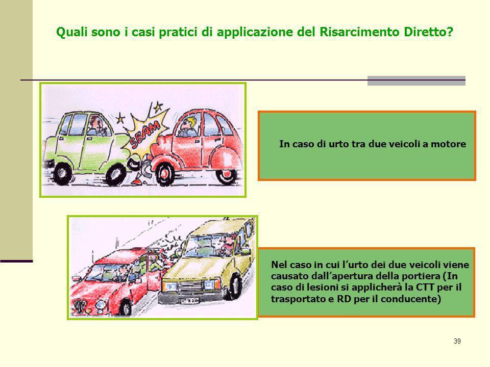 39 In caso di urto tra due veicoli a motore Nel caso in cui lurto dei due veicoli viene causato dallapertura della portiera (In caso di lesioni si app