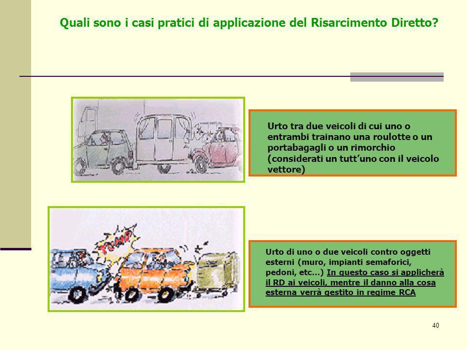 40 Urto di uno o due veicoli contro oggetti esterni (muro, impianti semaforici, pedoni, etc…) In questo caso si applicherà il RD ai veicoli, mentre il