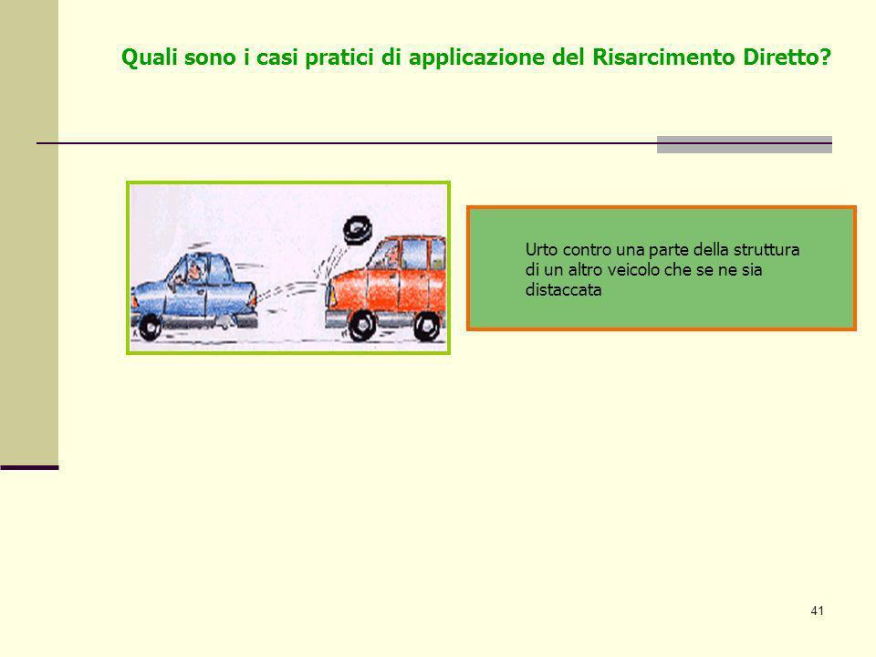 41 Urto contro una parte della struttura di un altro veicolo che se ne sia distaccata Quali sono i casi pratici di applicazione del Risarcimento Diret