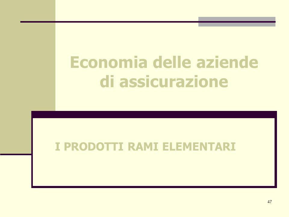 47 Economia delle aziende di assicurazione I PRODOTTI RAMI ELEMENTARI