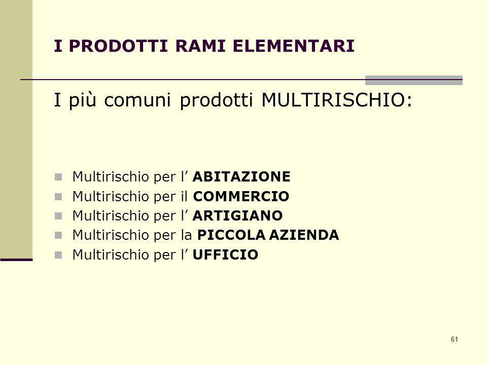 61 I PRODOTTI RAMI ELEMENTARI MULTIRISCHIO I più comuni prodotti MULTIRISCHIO: Multirischio per l ABITAZIONE Multirischio per il COMMERCIO Multirischi
