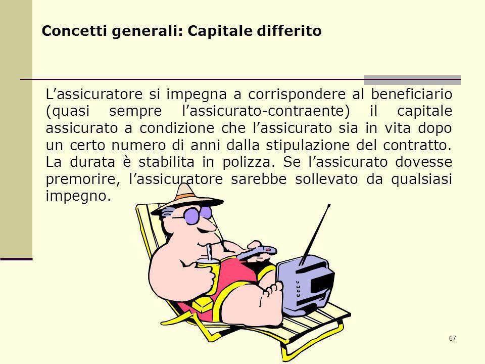 67 Concetti generali: Capitale differito Lassicuratore si impegna a corrispondere al beneficiario (quasi sempre lassicurato-contraente) il capitale as