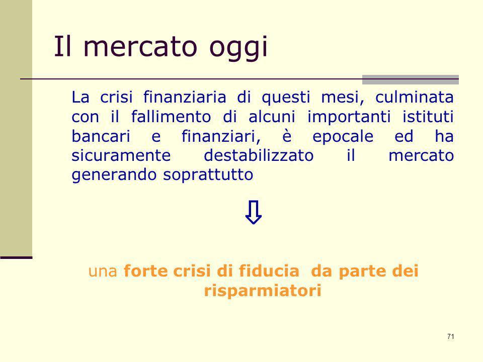 71 Il mercato oggi La crisi finanziaria di questi mesi, culminata con il fallimento di alcuni importanti istituti bancari e finanziari, è epocale ed h