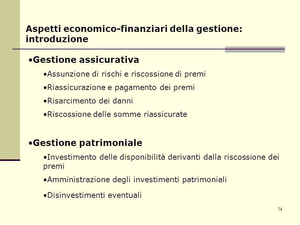 74 Aspetti economico-finanziari della gestione: introduzione Gestione assicurativa Assunzione di rischi e riscossione di premi Riassicurazione e pagam