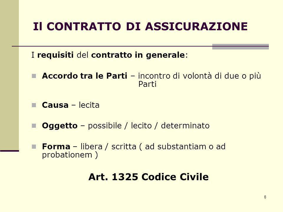 8 Il CONTRATTO DI ASSICURAZIONE I requisiti del contratto in generale: Accordo tra le Parti – incontro di volontà di due o più Parti Causa – lecita Og