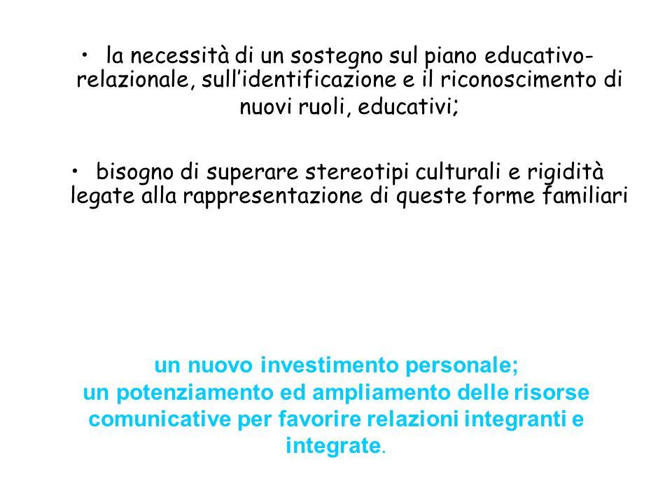 la necessità di un sostegno sul piano educativo- relazionale, sullidentificazione e il riconoscimento di nuovi ruoli, educativi ; bisogno di superare
