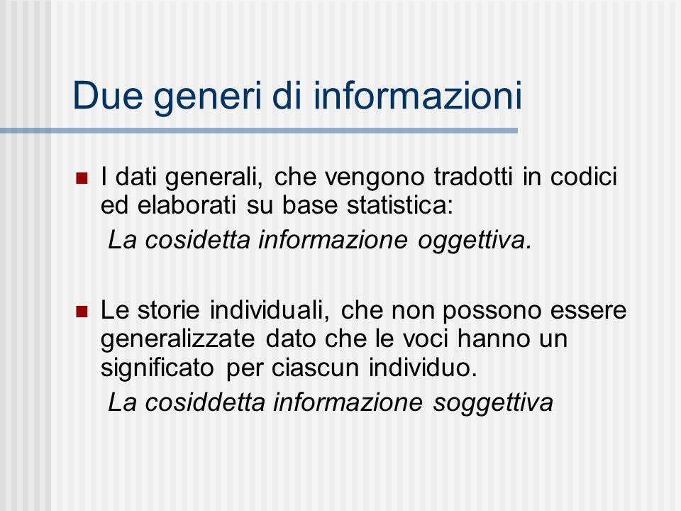 Due generi di informazioni I dati generali, che vengono tradotti in codici ed elaborati su base statistica: La cosidetta informazione oggettiva. Le st