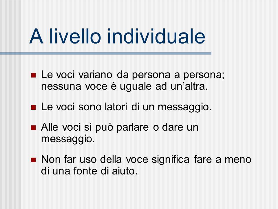 A livello individuale Le voci variano da persona a persona; nessuna voce è uguale ad unaltra. Le voci sono latori di un messaggio. Alle voci si può pa