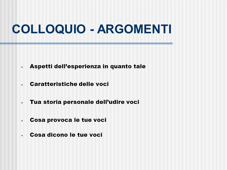 COLLOQUIO - ARGOMENTI - Aspetti dellesperienza in quanto tale - Caratteristiche delle voci - Tua storia personale delludire voci - Cosa provoca le tue