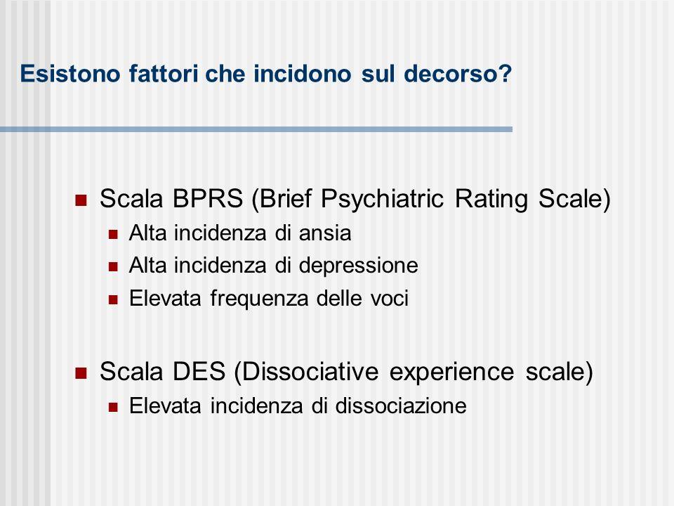 Esistono fattori che incidono sul decorso? Scala BPRS (Brief Psychiatric Rating Scale) Alta incidenza di ansia Alta incidenza di depressione Elevata f