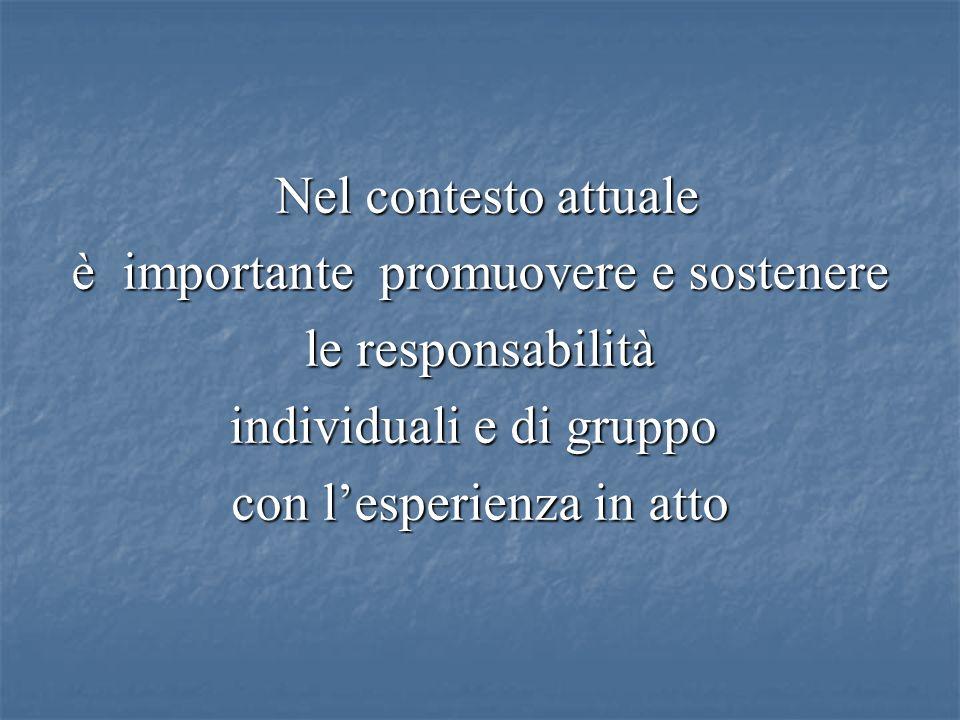 Nel contesto attuale Nel contesto attuale è importante promuovere e sostenere è importante promuovere e sostenere le responsabilità le responsabilità individuali e di gruppo con lesperienza in atto con lesperienza in atto