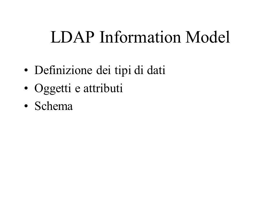 LDAP Information Model Definizione dei tipi di dati Oggetti e attributi Schema