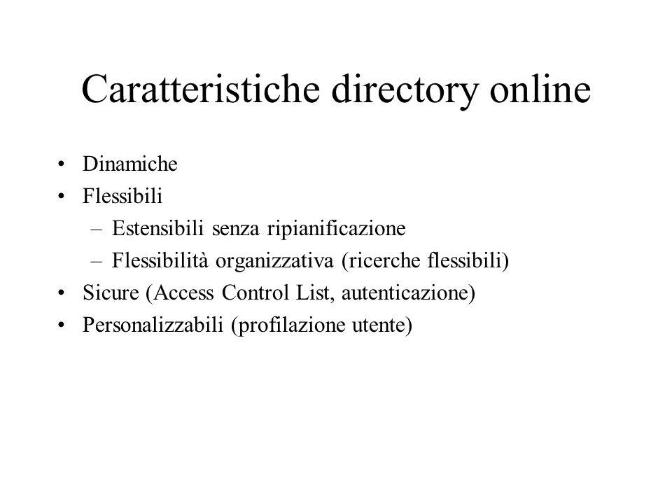 Caratteristiche directory online Dinamiche Flessibili –Estensibili senza ripianificazione –Flessibilità organizzativa (ricerche flessibili) Sicure (Access Control List, autenticazione) Personalizzabili (profilazione utente)