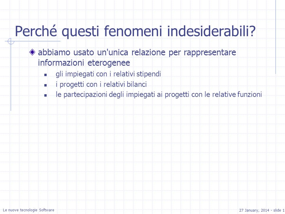 27 January, 2014 - slide 11 Le nuove tecnologie Software Perché questi fenomeni indesiderabili.