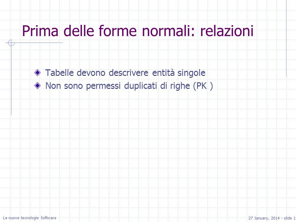 27 January, 2014 - slide 12 Le nuove tecnologie Software Prima delle forme normali: relazioni Tabelle devono descrivere entità singole Non sono permessi duplicati di righe (PK )
