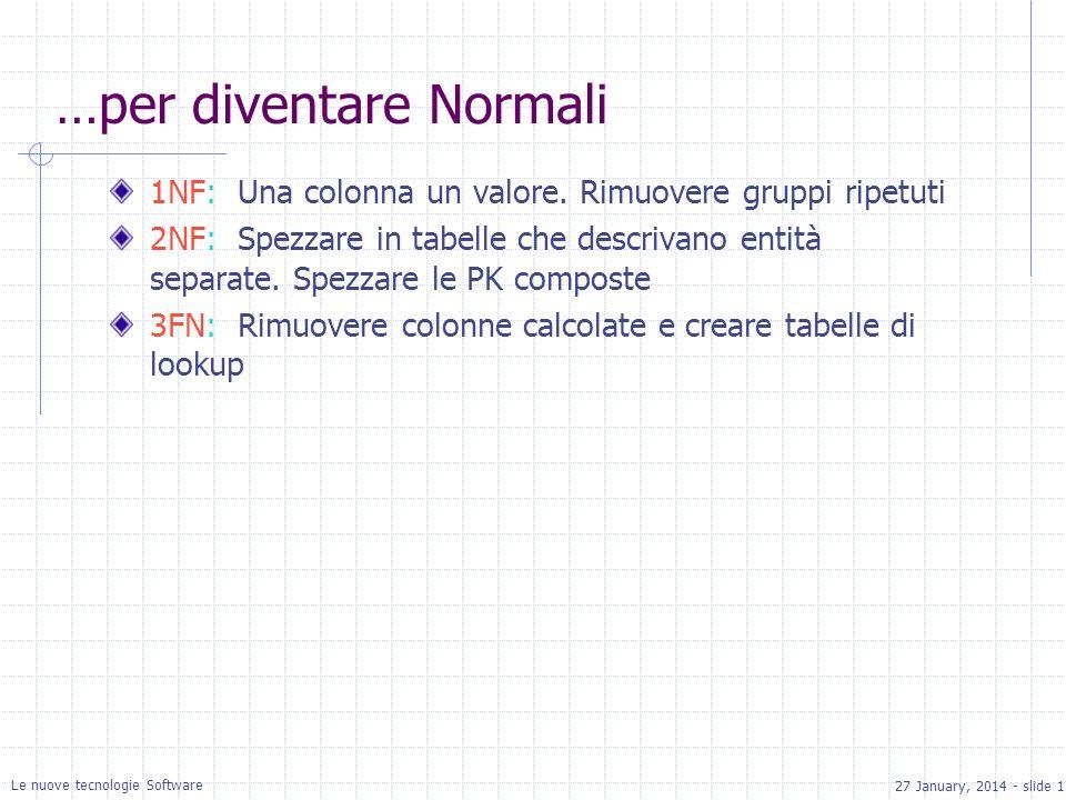 27 January, 2014 - slide 17 Le nuove tecnologie Software …per diventare Normali 1NF: Una colonna un valore. Rimuovere gruppi ripetuti 2NF: Spezzare in