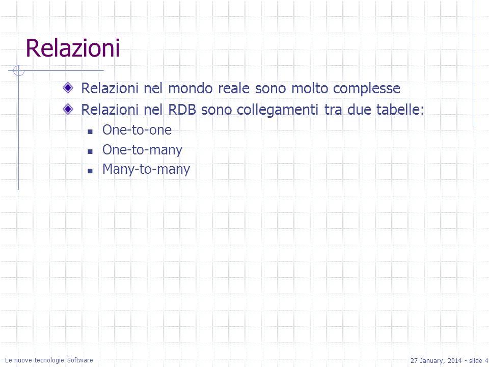 27 January, 2014 - slide 4 Le nuove tecnologie Software Relazioni Relazioni nel mondo reale sono molto complesse Relazioni nel RDB sono collegamenti tra due tabelle: One-to-one One-to-many Many-to-many