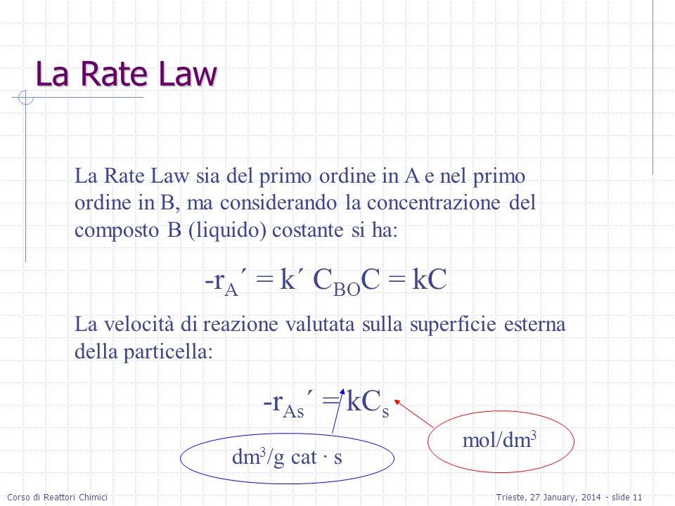 Corso di Reattori ChimiciTrieste, 27 January, 2014 - slide 11 La Rate Law La Rate Law sia del primo ordine in A e nel primo ordine in B, ma considerando la concentrazione del composto B (liquido) costante si ha: -r A ´ = k´ C BO C = kC La velocità di reazione valutata sulla superficie esterna della particella: -r As ´ = kC s mol/dm 3 dm 3 /g cat · s