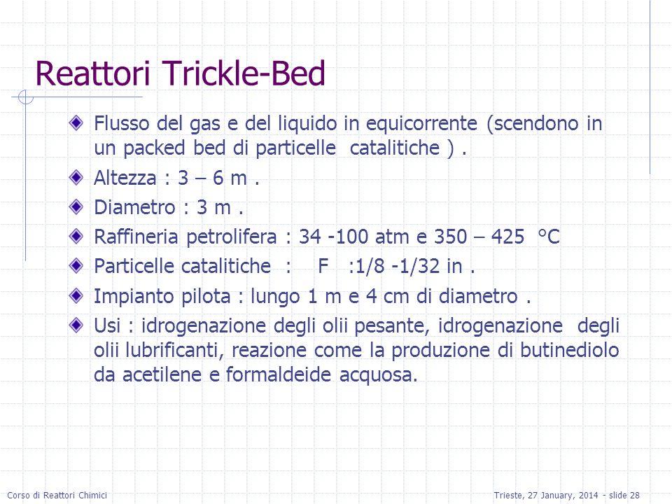 Corso di Reattori ChimiciTrieste, 27 January, 2014 - slide 28 Reattori Trickle-Bed Flusso del gas e del liquido in equicorrente (scendono in un packed bed di particelle catalitiche ).