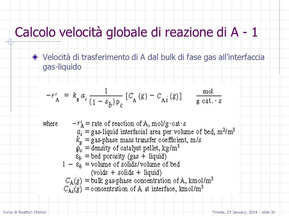 Corso di Reattori ChimiciTrieste, 27 January, 2014 - slide 30 Calcolo velocità globale di reazione di A - 1 Velocità di trasferimento di A dal bulk di fase gas allinterfaccia gas-liquido