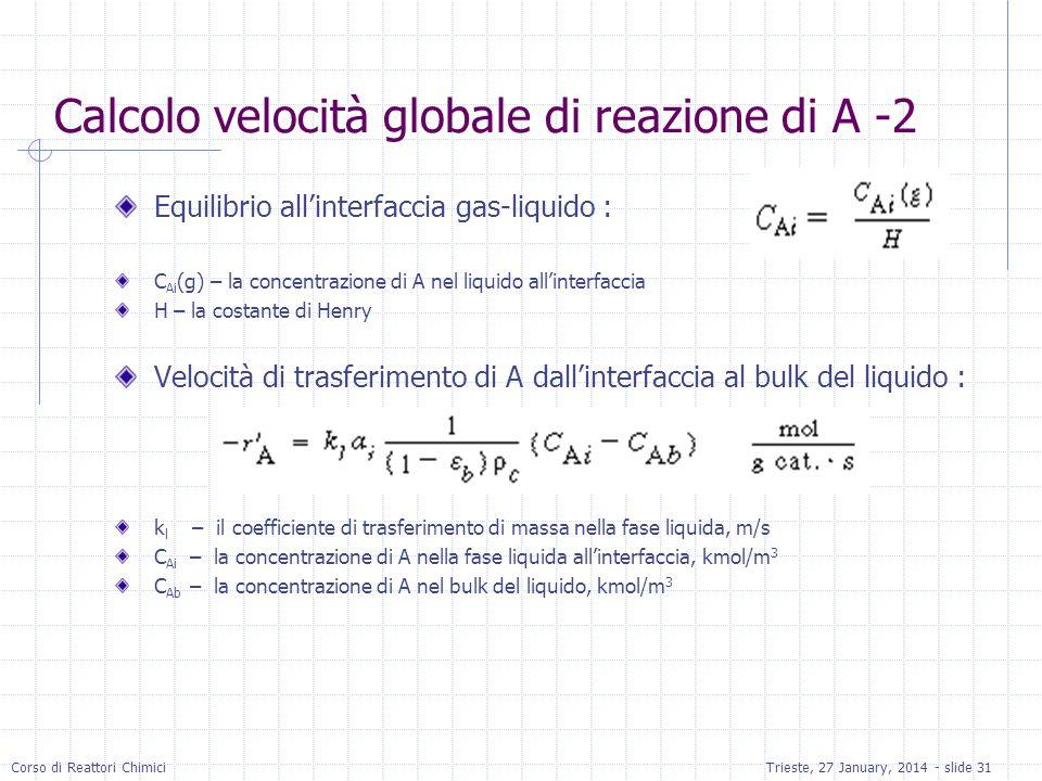 Corso di Reattori ChimiciTrieste, 27 January, 2014 - slide 31 Calcolo velocità globale di reazione di A -2 Equilibrio allinterfaccia gas-liquido : C Ai (g) – la concentrazione di A nel liquido allinterfaccia H – la costante di Henry Velocità di trasferimento di A dallinterfaccia al bulk del liquido : k l – il coefficiente di trasferimento di massa nella fase liquida, m/s C Ai – la concentrazione di A nella fase liquida allinterfaccia, kmol/m 3 C Ab – la concentrazione di A nel bulk del liquido, kmol/m 3