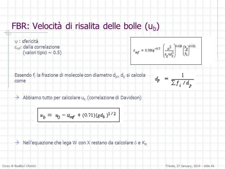 Corso di Reattori ChimiciTrieste, 27 January, 2014 - slide 46 FBR: Velocità di risalita delle bolle (u b ) : sfericità mf : dalla correlazione (valori tipici ~ 0.5) Essendo f i la frazione di molecole con diametro d pi, d p si calcola come Abbiamo tutto per calcolare u b (correlazione di Davidson) Nellequazione che lega W con X restano da calcolare e K R