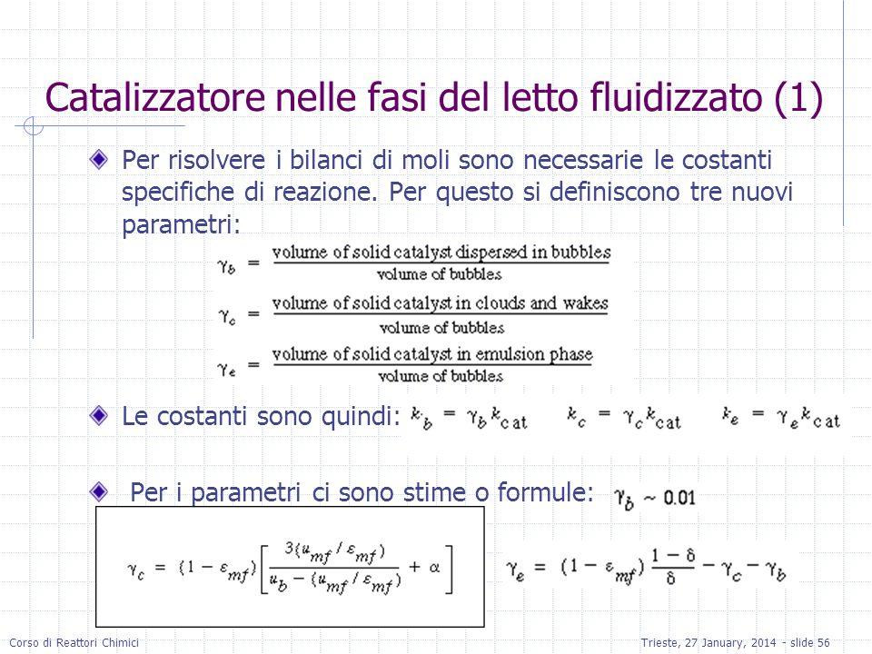 Corso di Reattori ChimiciTrieste, 27 January, 2014 - slide 56 Catalizzatore nelle fasi del letto fluidizzato (1) Per risolvere i bilanci di moli sono necessarie le costanti specifiche di reazione.