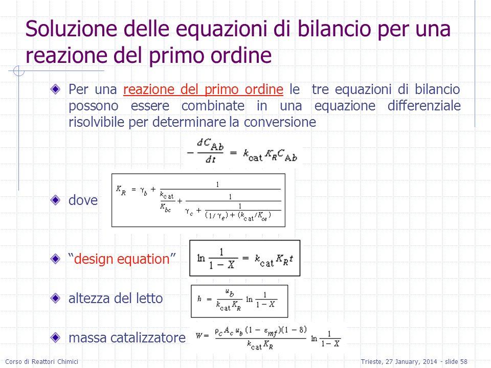 Corso di Reattori ChimiciTrieste, 27 January, 2014 - slide 58 Soluzione delle equazioni di bilancio per una reazione del primo ordine Per una reazione del primo ordine le tre equazioni di bilancio possono essere combinate in una equazione differenziale risolvibile per determinare la conversione dove design equation altezza del letto massa catalizzatore