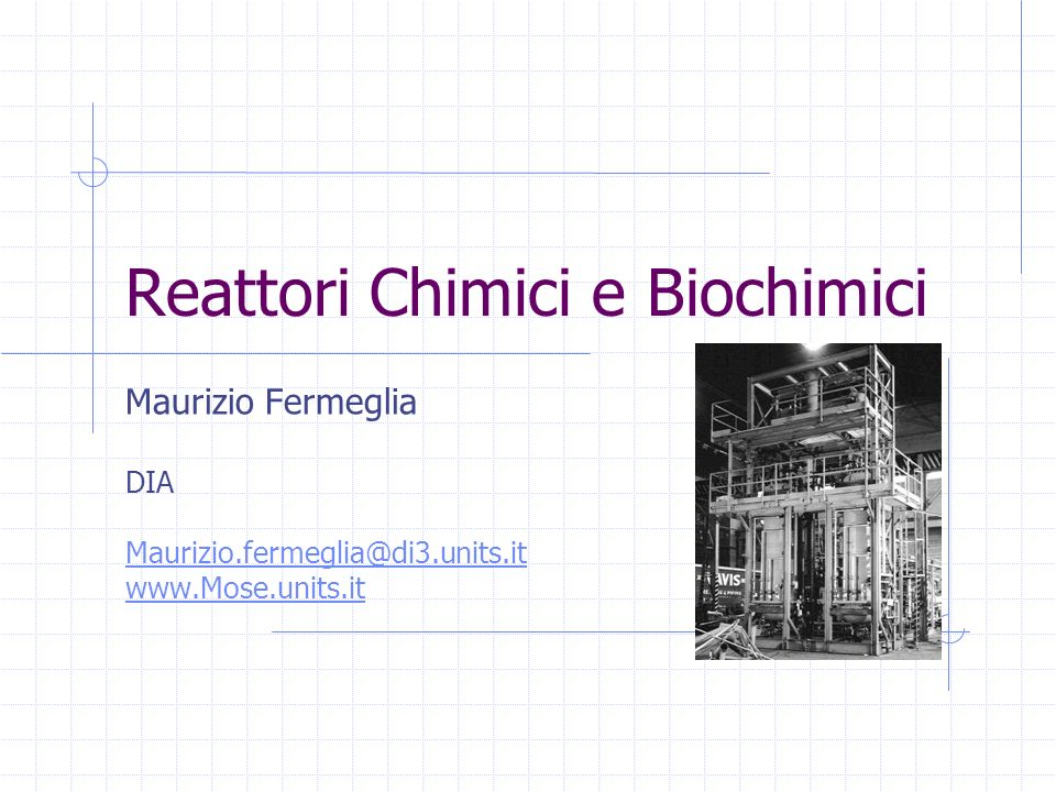 Reattori Chimici e Biochimici Maurizio Fermeglia DIA Maurizio.fermeglia@di3.units.it www.Mose.units.it