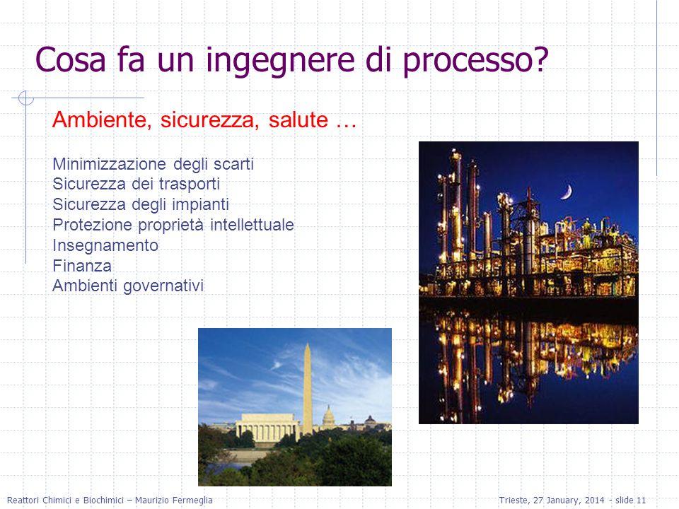 Reattori Chimici e Biochimici – Maurizio FermegliaTrieste, 27 January, 2014 - slide 11 Ambiente, sicurezza, salute … Minimizzazione degli scarti Sicur