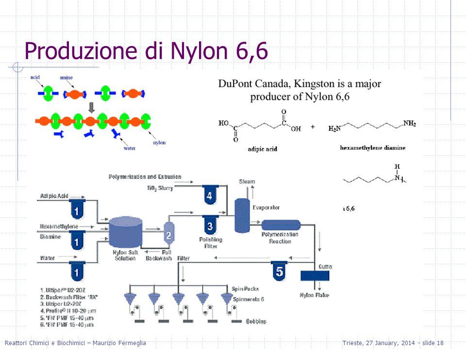 Reattori Chimici e Biochimici – Maurizio FermegliaTrieste, 27 January, 2014 - slide 18 Produzione di Nylon 6,6