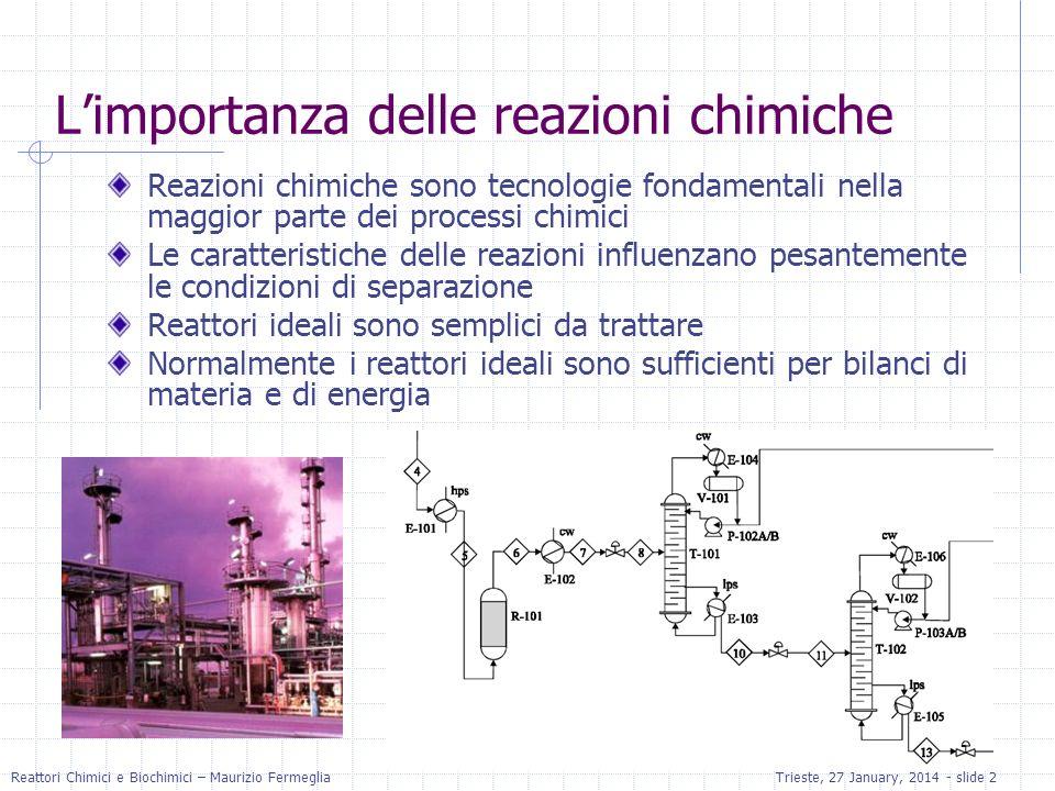 Reattori Chimici e Biochimici – Maurizio FermegliaTrieste, 27 January, 2014 - slide 2 Limportanza delle reazioni chimiche Reazioni chimiche sono tecno