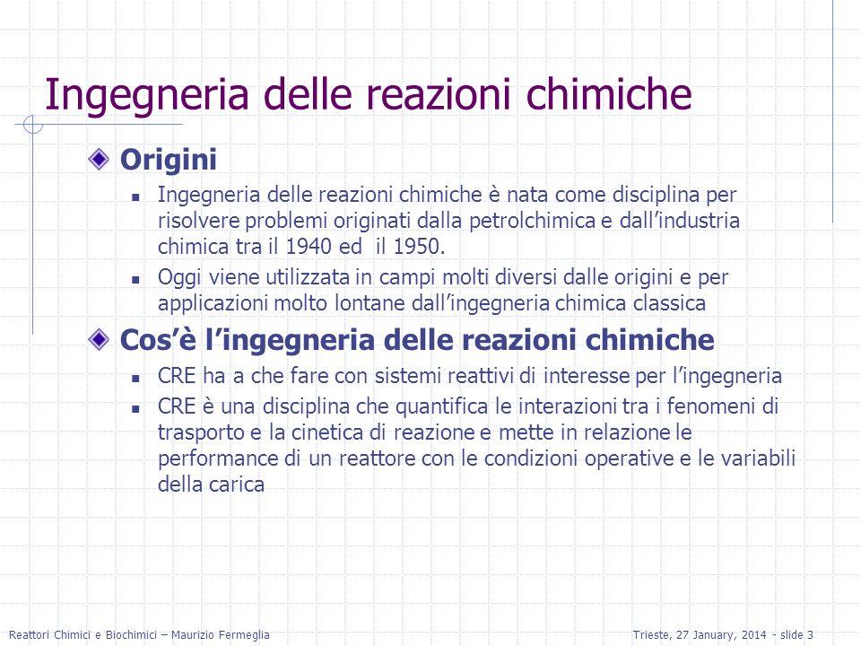 Reattori Chimici e Biochimici – Maurizio FermegliaTrieste, 27 January, 2014 - slide 3 Ingegneria delle reazioni chimiche Origini Ingegneria delle reaz