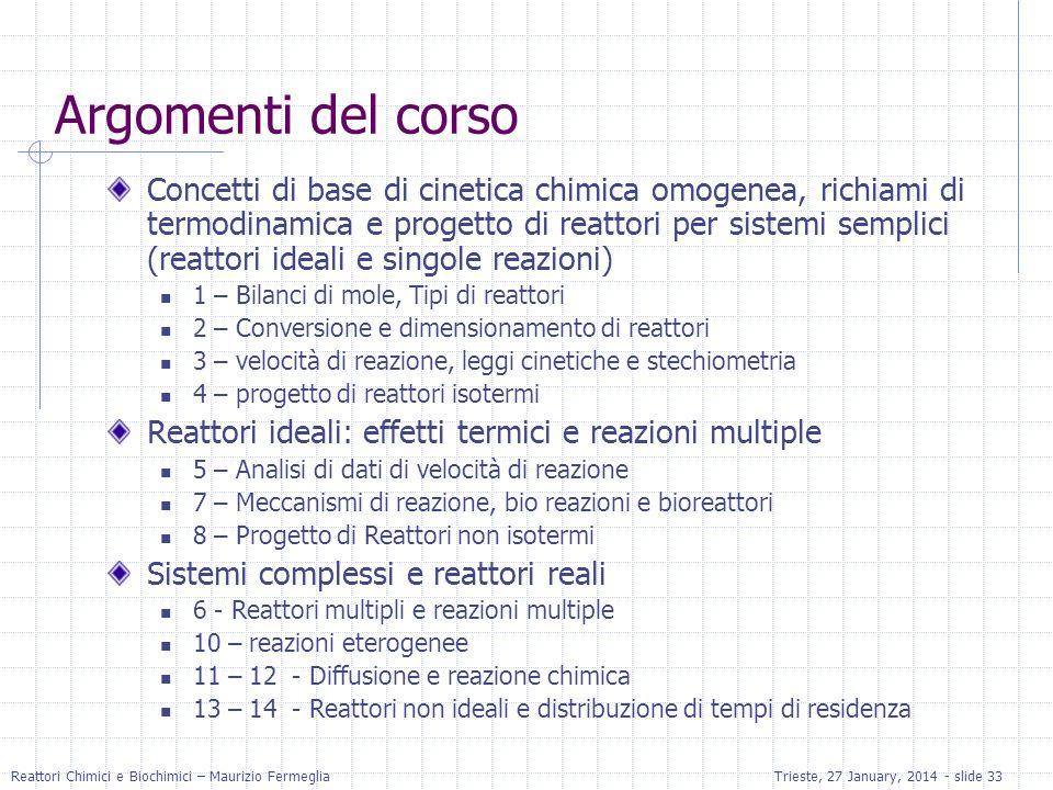 Reattori Chimici e Biochimici – Maurizio FermegliaTrieste, 27 January, 2014 - slide 33 Argomenti del corso Concetti di base di cinetica chimica omogen