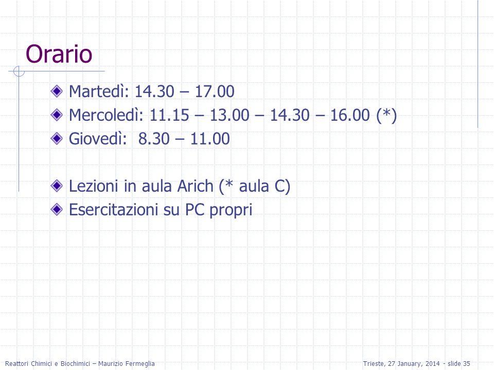 Reattori Chimici e Biochimici – Maurizio FermegliaTrieste, 27 January, 2014 - slide 35 Orario Martedì: 14.30 – 17.00 Mercoledì: 11.15 – 13.00 – 14.30