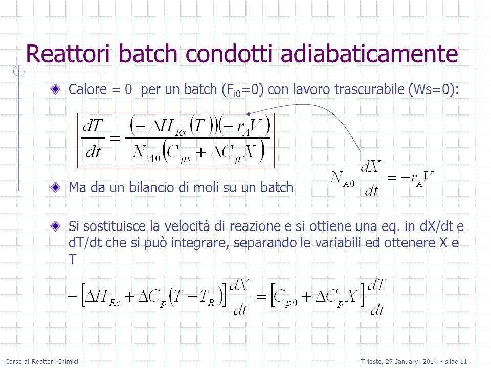Corso di Reattori ChimiciTrieste, 27 January, 2014 - slide 11 Reattori batch condotti adiabaticamente Calore = 0 per un batch (F i0 =0) con lavoro trascurabile (Ws=0): Ma da un bilancio di moli su un batch Si sostituisce la velocità di reazione e si ottiene una eq.