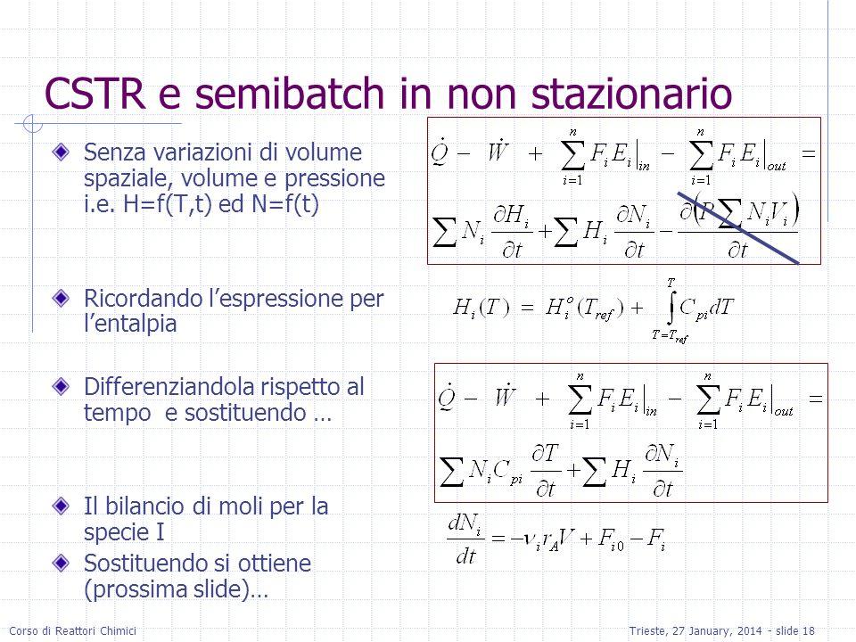 Corso di Reattori ChimiciTrieste, 27 January, 2014 - slide 18 CSTR e semibatch in non stazionario Senza variazioni di volume spaziale, volume e pressi