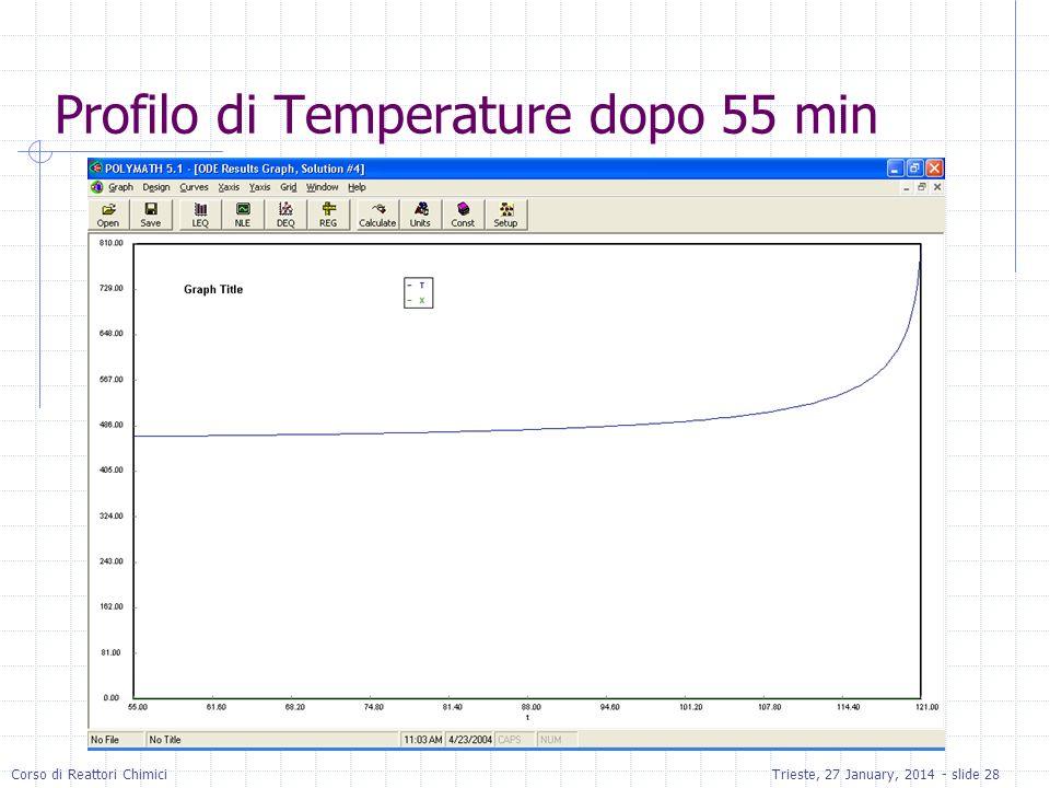 Corso di Reattori ChimiciTrieste, 27 January, 2014 - slide 28 Profilo di Temperature dopo 55 min