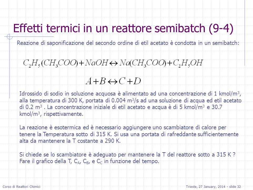 Corso di Reattori ChimiciTrieste, 27 January, 2014 - slide 32 Reazione di saponificazione del secondo ordine di etil acetato è condotta in un semibatch: Idrossido di sodio in soluzione acquosa è alimentato ad una concentrazione di 1 kmol/m 3, alla temperatura di 300 K, portata di 0.004 m 3 /s ad una soluzione di acqua ed etil acetato di 0.2 m 3.